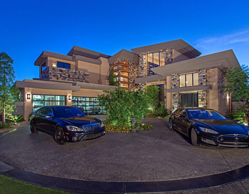 luxury custom home las vegas exterior garages