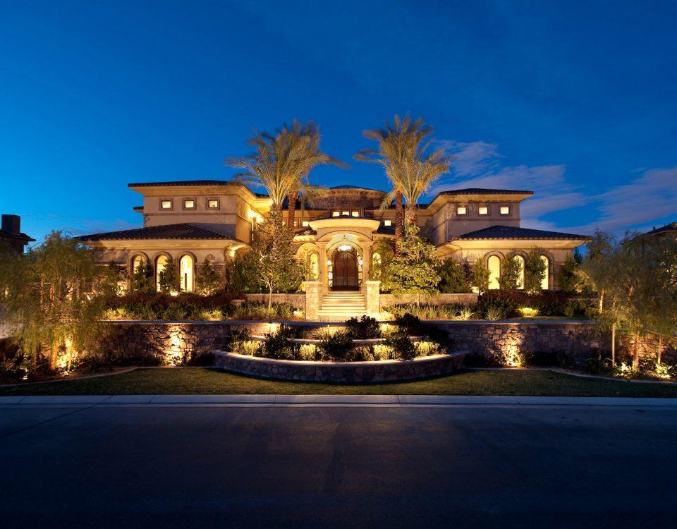 luxury custom home las vegas exterior entrance view