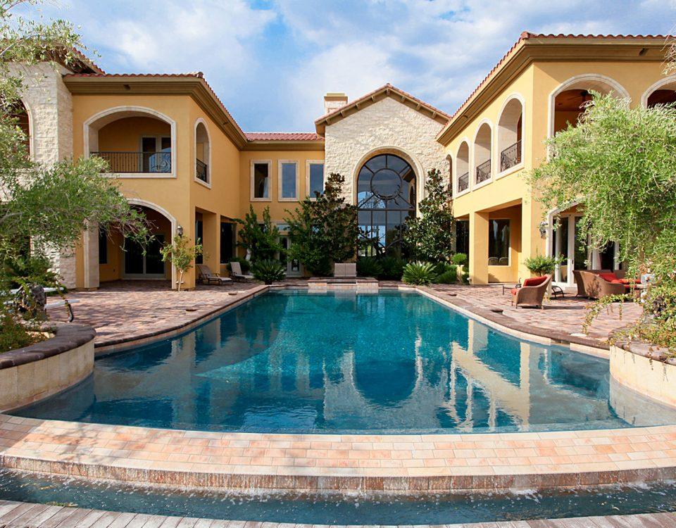 luxury custom home las vegas exterior backyard pool
