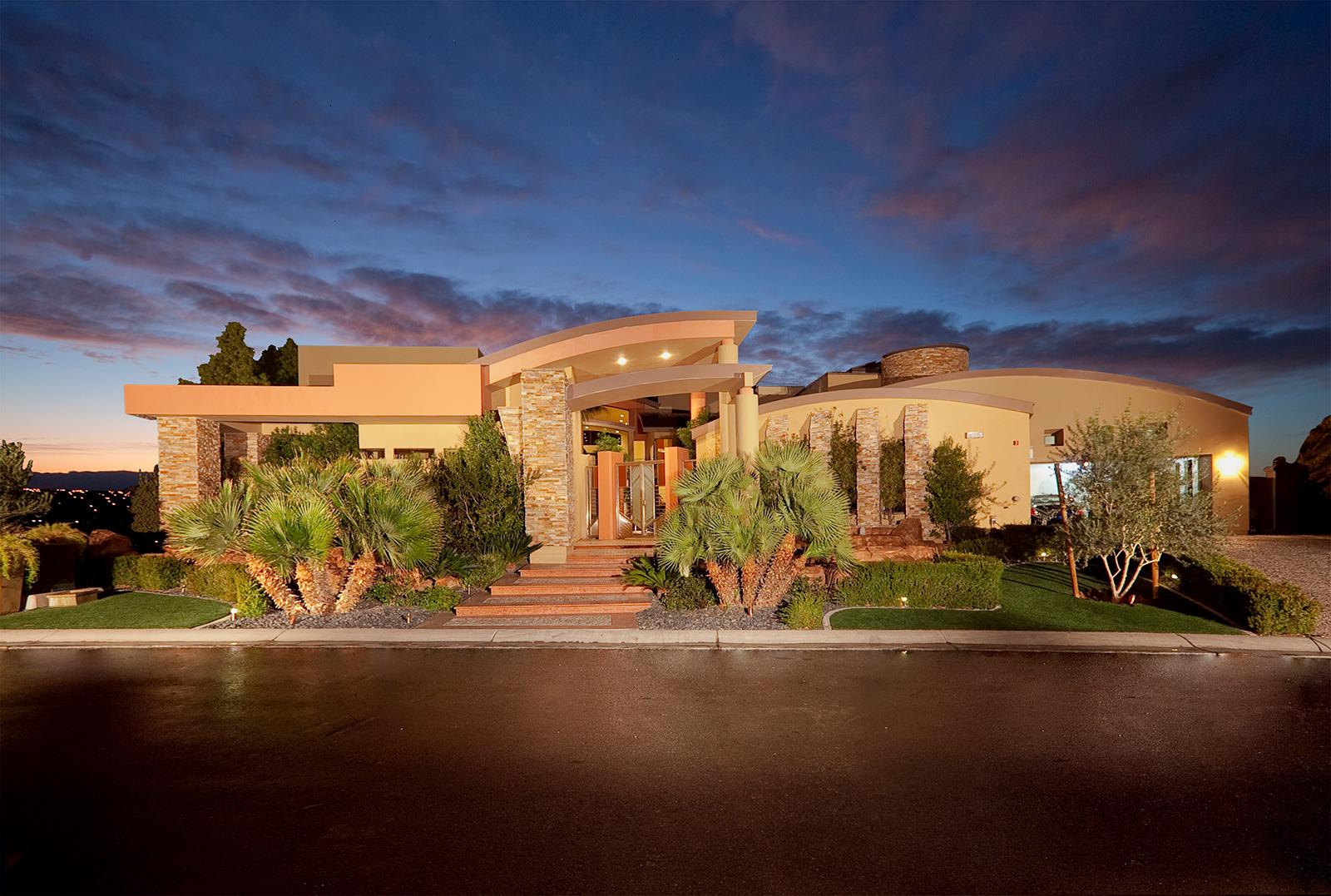 luxury custom home las vegas exterior entrance