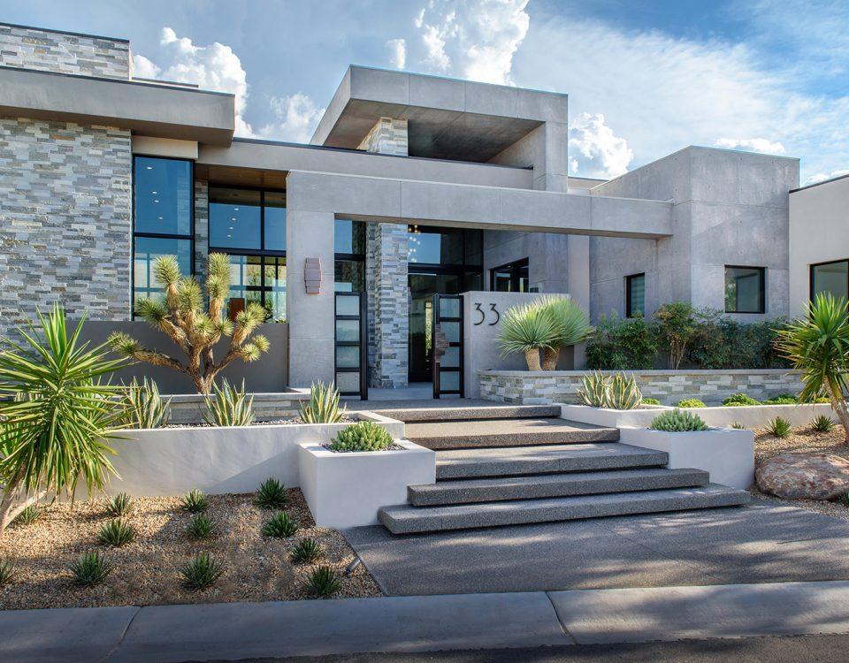 luxury custom home las vegas exterior front entryway