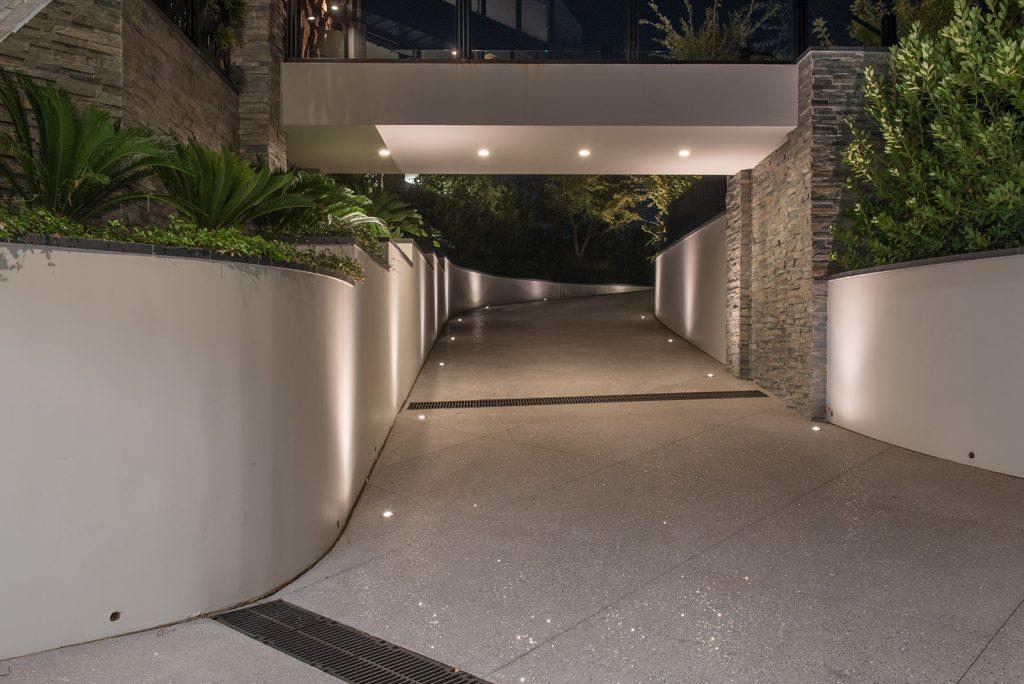 custom home las vegas entryway night