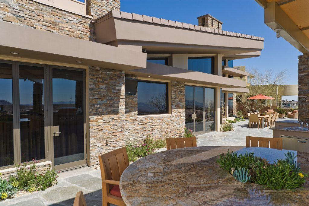 luxury custom home las vegas exterior dining table