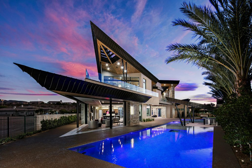 luxury custom home las vegas exterior backyard pool