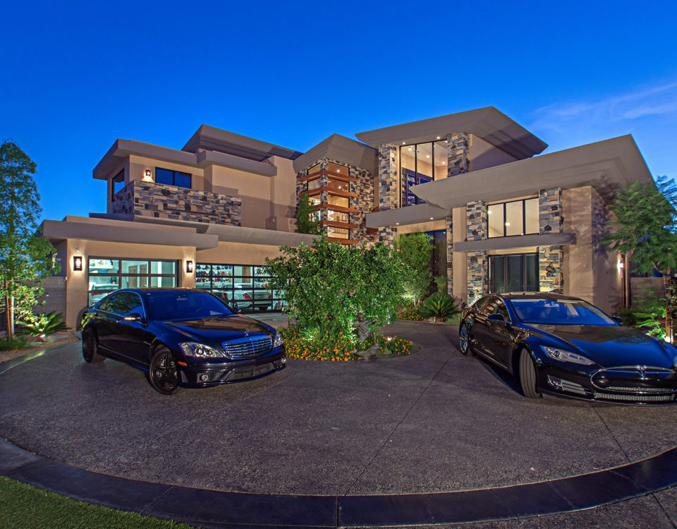 luxury custom home las vegas exterior garages
