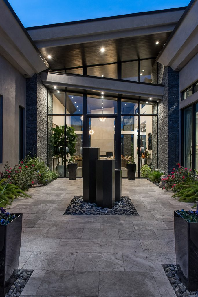 custom home las vegas exterior courtyard