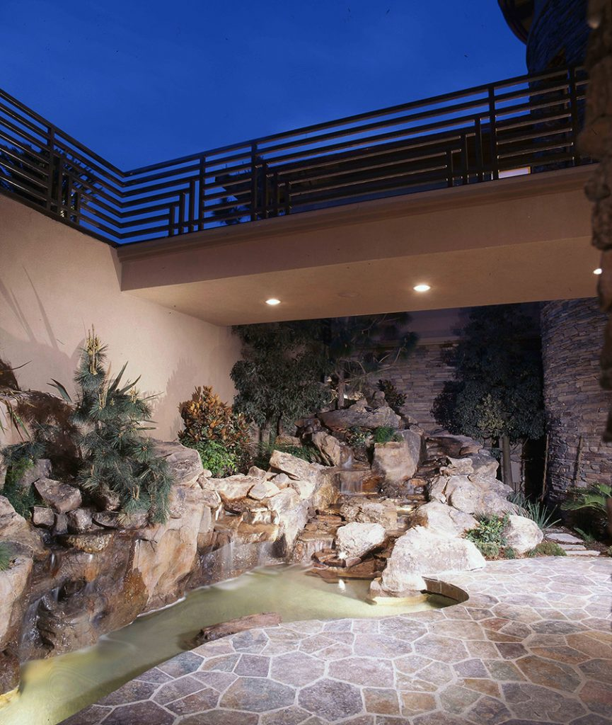 luxury custom home las vegas exterior pond