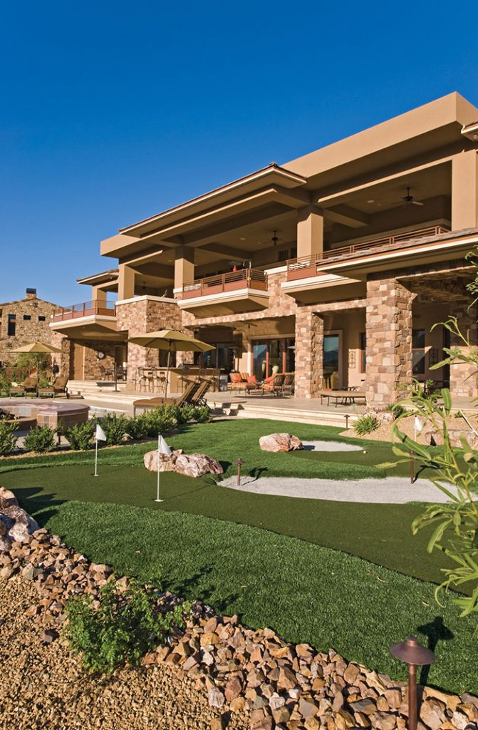 luxury custom home las vegas exterior mini golf