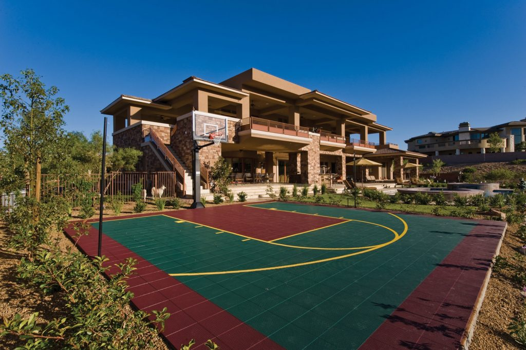 luxury custom home las vegas exterior basketball court