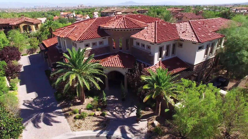 luxury custom home las vegas exterior aerial view