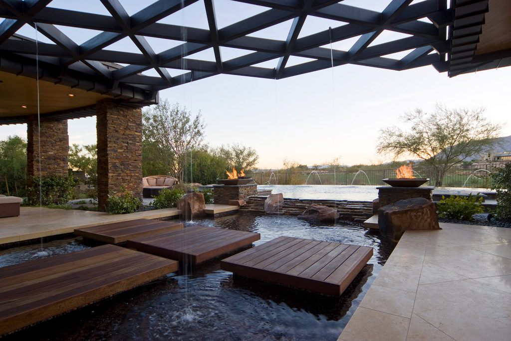 luxury custom home las vegas exterior pool view