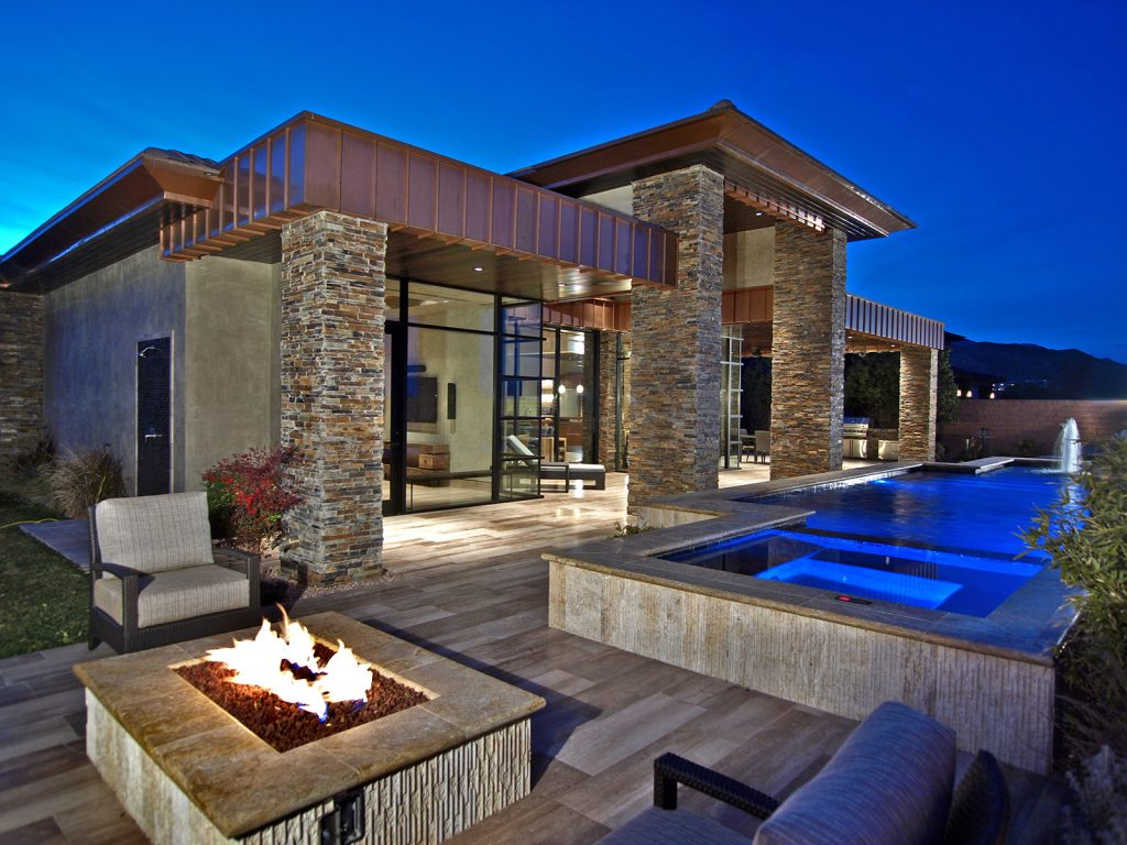 luxury custom home las vegas exterior bathroom