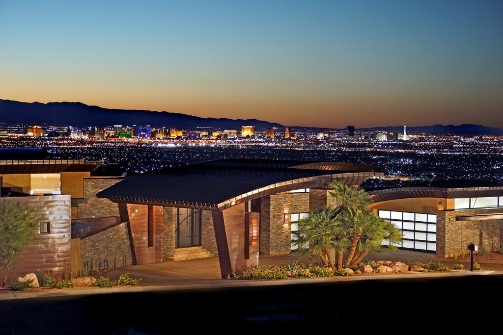 luxury custom home las vegas panoramic exterior view