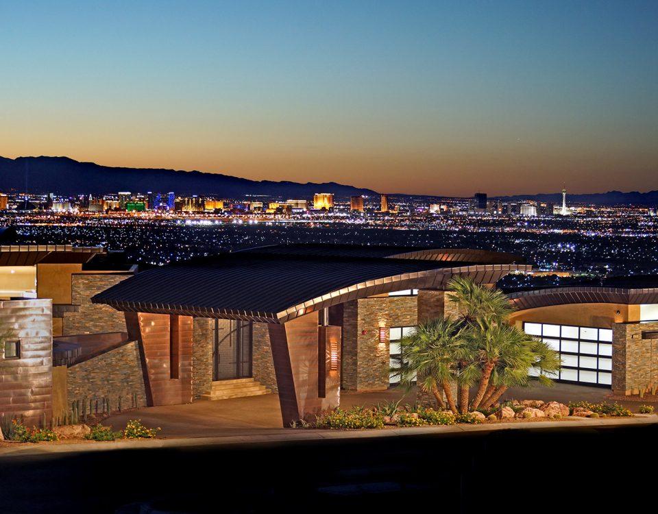 luxury custom home las vegas panoramic exterior view