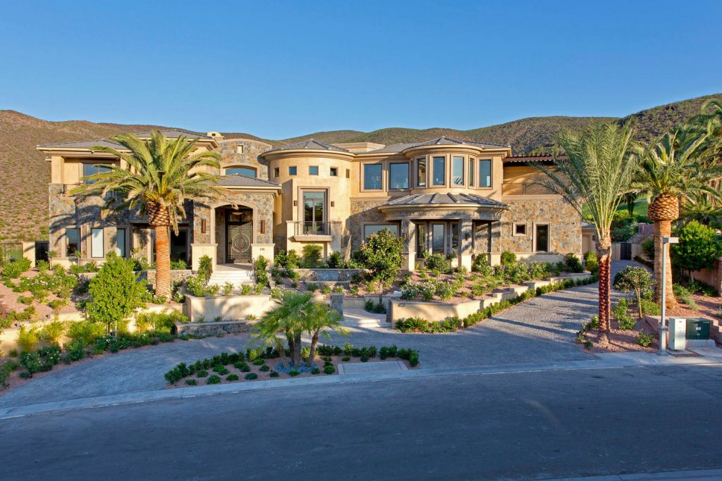 luxury custom home las vegas exterior driveway