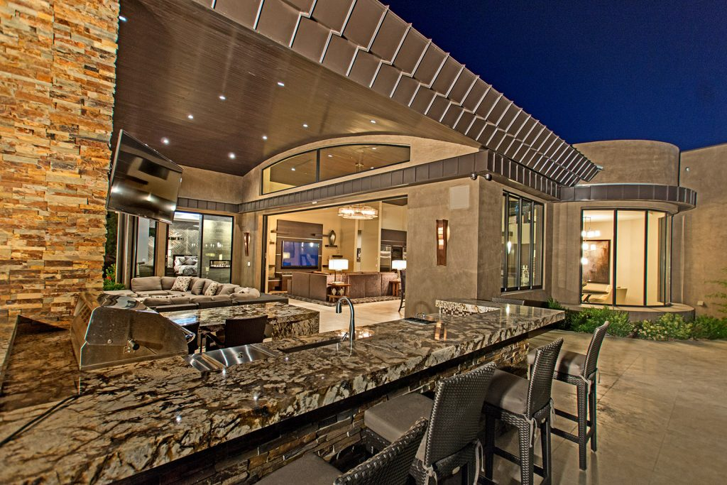 luxury custom home las vegas exterior backyard bar