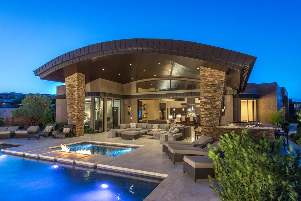 luxury custom home las vegas exterior backyard view