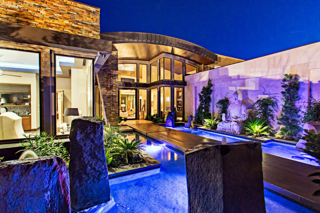 luxury custom home las vegas exterior entryway garden