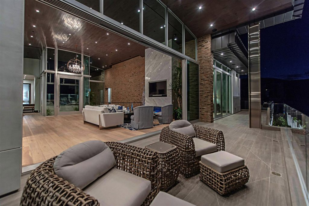 luxury custom home las vegas exterior living room view