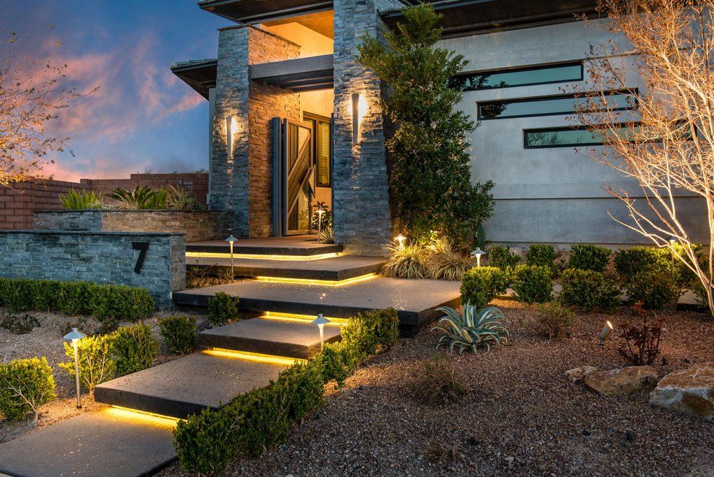 custom luxury las vegas home exterior entryway