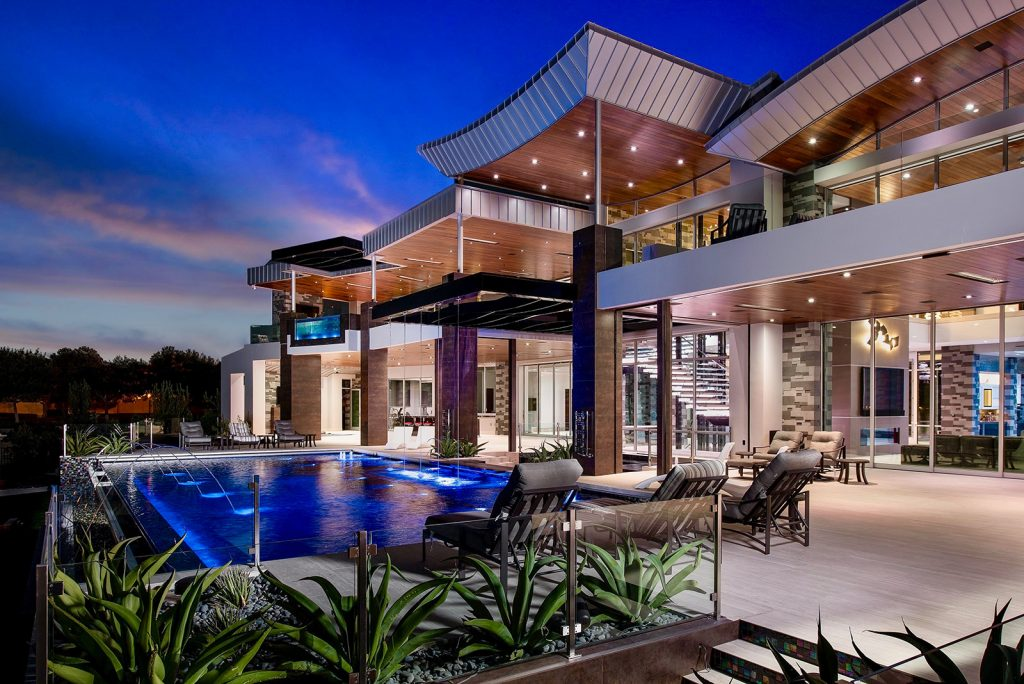 custom luxury las vegas home exterior night view