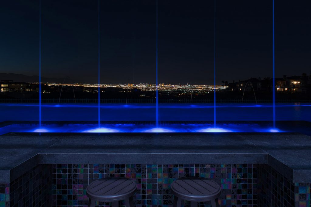 custom luxury las vegas home night view