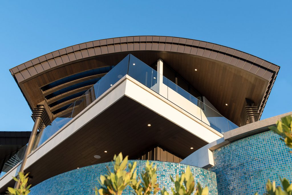 custom home las vegas exterior balcony