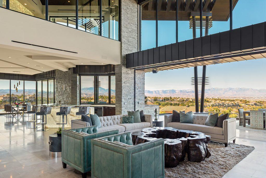 custom home las vegas interior living room