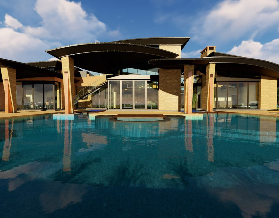 custom luxury las vegas home exterior backyard pool