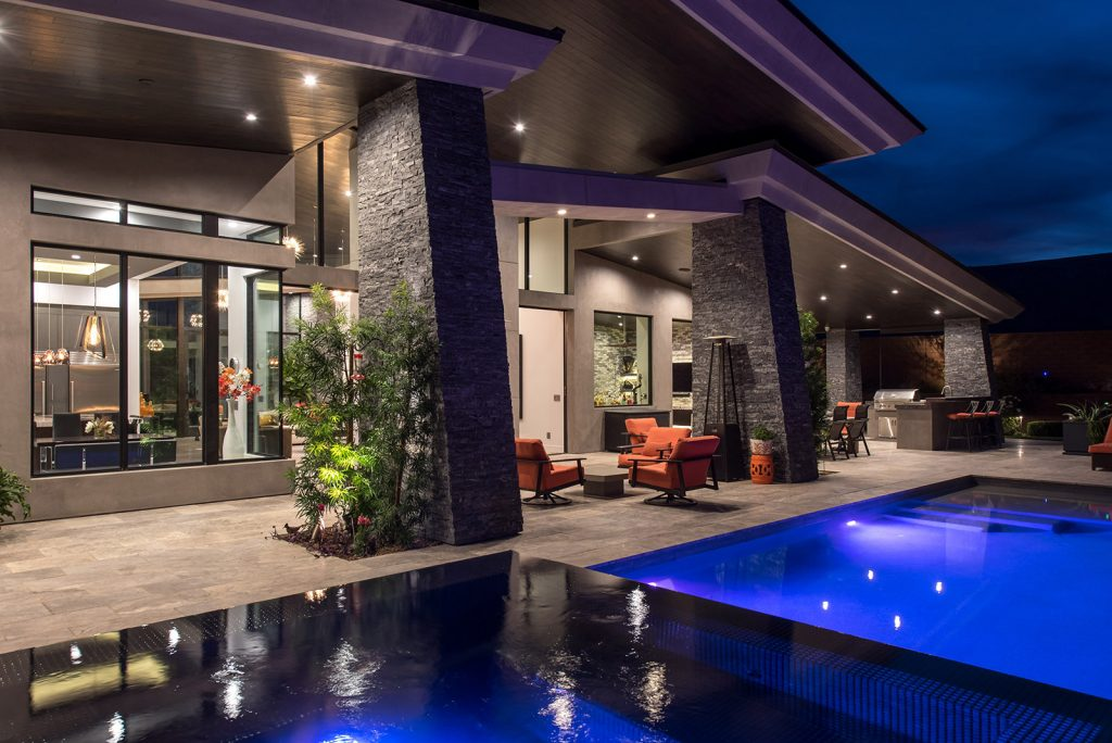 custom home las vegas backyard pool